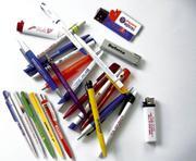 Промо ручки и зажигалки с логотипом компании.