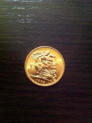 Золотая монета Елизавета II 1 Соверен 1963